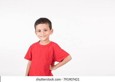 Arab child standing on white background