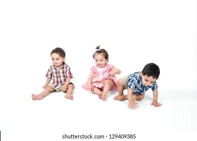 Arab Children play on white background