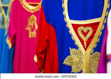 Arab dresses detail in arab market (Alcaiceria), Granada. Spain.
