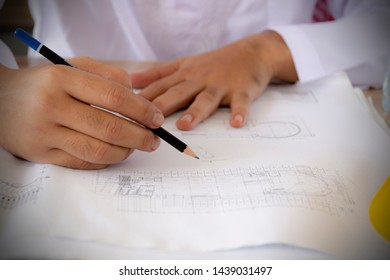 Arab engineer designing plan. necessary ้ave knowledge and expertise