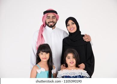 Arab Family standing on white background