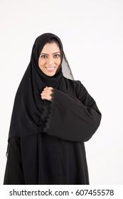 Arab female wearing abaya on white background