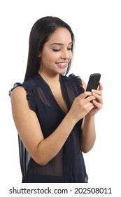Arab happy casual woman using a smart phone isolated on a white background