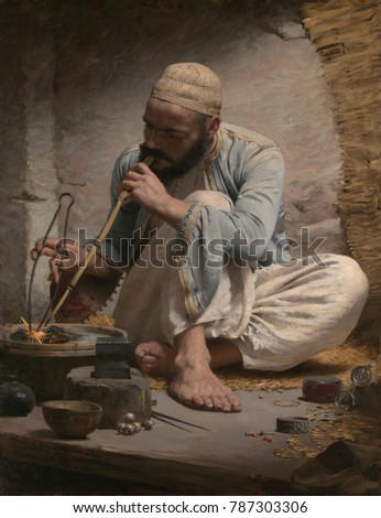 THE ARAB JEWELER, by Charles Sprague Pearce, 1882, American painting, oil on canvas. An Arab artisan is painted with strong sense of light and volume. The artist studied in Paris and traveled to Egypt