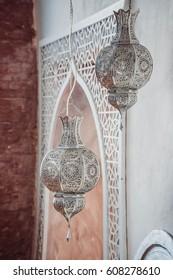 Arab lamps. Moroccan silver lantern