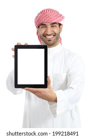 Arab man holding a blank tablet screen advice isolated on a white background