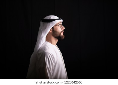 Arab man looking In the direction of the future, Arabic ambitious mature businessman.
