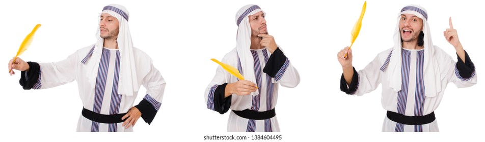 Arab man with pen isolated on white