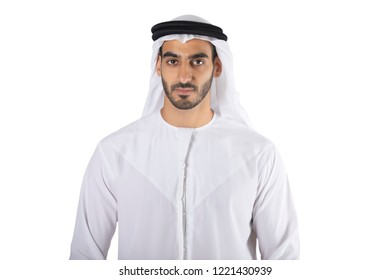 Arab man standing on white background