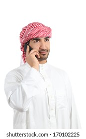 Arab man talking on the smart phone isolated on a white background