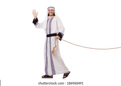 Arab man in tug of war concept
