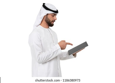 Arab Man Using tablet and pointing his finger, on white background.