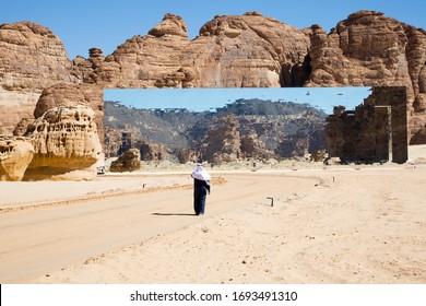 Arab man visiting the spectacular and astonish mirrored building in Madain Saleh in Al Ula Saudi Arabia