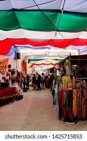 Arab market in the streets of Mertola, Portugal June 2019