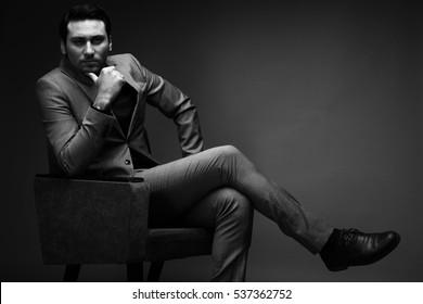 Arab men studio black and white