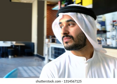 Arab Middle East Man in a cafe with serious face