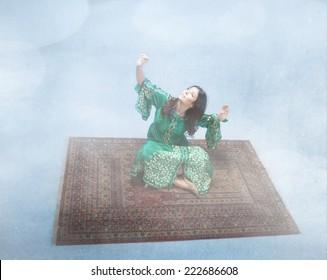 arab model fly on a magic carpet
