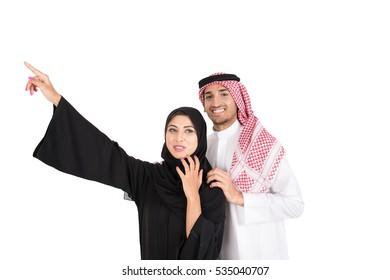 Arab muslim couple on white background