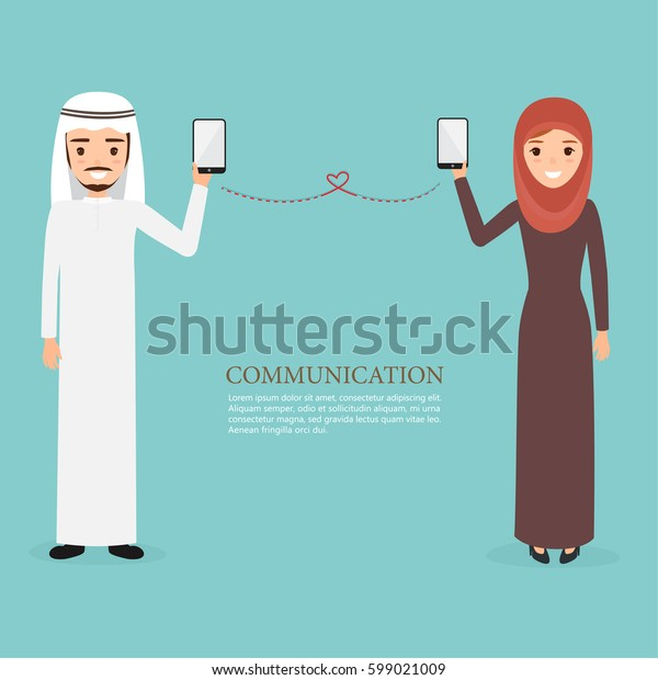arab and muslim people character using a mobile phone. communication technology.