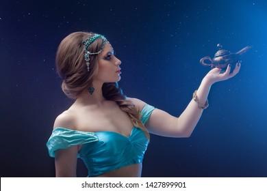 Arab night, make a wish at gene's. Fabulous heroine Jasmine with a magic lamp. Dark night background