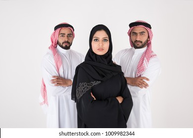 Arab people standing on white background