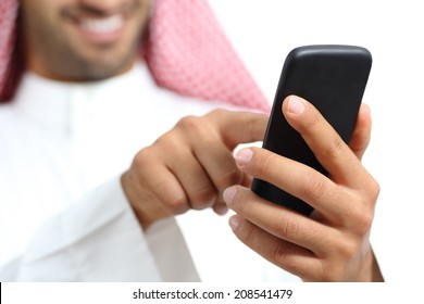 Arab saudi emirates man hand texting in a smart phone isolated on a white background