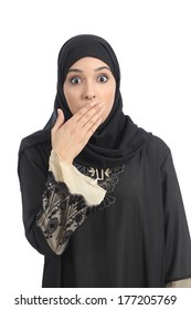 Arab saudi emirates woman covering her mouth with her hand isolated on a white background