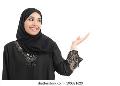 Arab saudi emirates woman promoter presenting looking at side