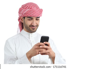 ca072394fd287 Arab saudi man watching social media in the smart phone isolated on a white  background