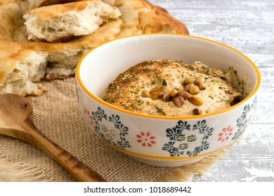 Arab snack from chickpeas hummus with bread.