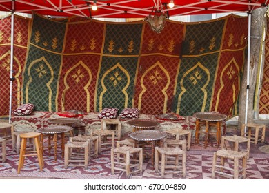 Arab tent with stools and tables