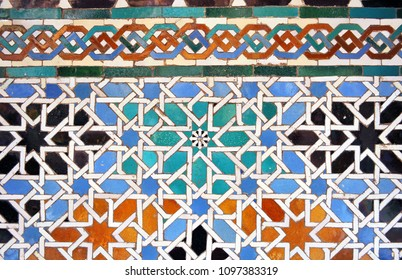 Arab tiles, ceramic mosaic, background, Alcazar in Seville (Reales Alcázares de Sevilla), Andalusia, Spain