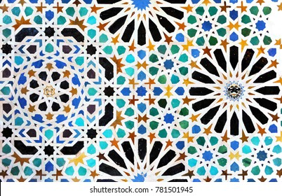 Arab tiles, mosaic, background, Alhambra in Granada, Andalusia, Spain