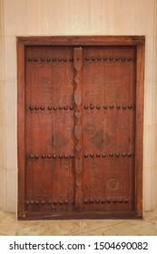 Arab traditional old Wooden Door displayed inside Bahrain National Museum
