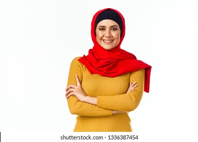 arab woman on isolated background