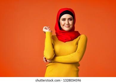 arab woman on orange background