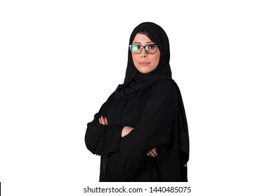 Arab woman wearing Abaya and optical glasses . Isolated on white background.