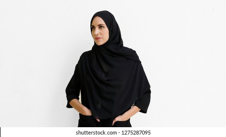 Arab women fashion in the Middle East wearing modern Abaya and traditional Hijab ideal for business woman mature look