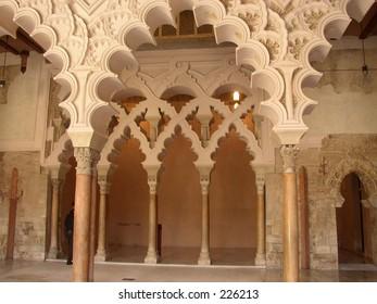 Arabesque Architecture in Aljaferia, Zaragoza, Spain