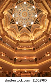 Arabian artistic style gold drawing decoration in Emirates Palace