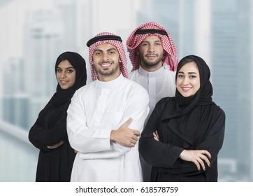Arabian business team in a modern interior