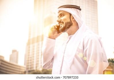 Arabian businessman talking about business