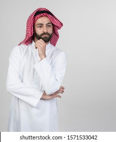 Arabian businessman thinking, Thoughtful arabian man