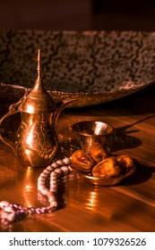 Arabian coffee celebration with dates food