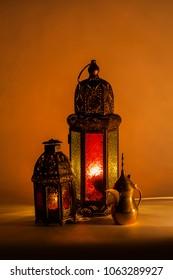 Arabian coffee set with old style lantern and dark light