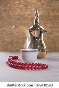 Arabian coffeewith dallah and rosary