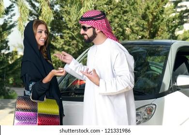 Arabian Couple outdoors having fun time