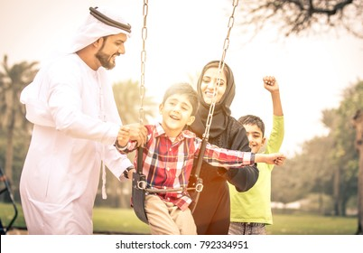 Arabian family portrait in the park