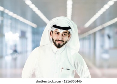 Arabian (Gulf area) smiling man with traditional wear.