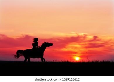 Arabian horse safari on colorful sunset background. Romantic pink sunset with galloping horse and female silhouette. Horseback riding on rising sun horizon.